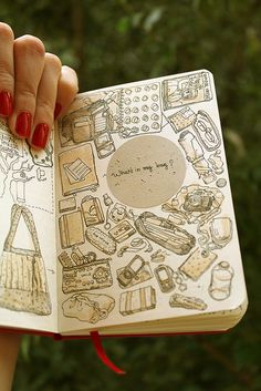 This is a great idea. What's in my bag? Empty its contents, and start sketching! notebook,jornal