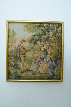 French antique gobelin tapestry