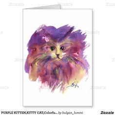 PURPLE KITTEN,KITTY CAT,Colorful Hearts Valentine Greeting Card