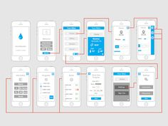 Wire Frame Fun designed by Collin Hartigan. App Wireframe, Wireframe Design, Interface Design, Web Design, Flat Design, Web Mobile, Mobile Ui Design, Wire Frame, Layout