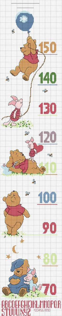 Disegni-punto-croce-metro-winnie the pooh growth chart. Biscornu Cross Stitch, Cross Stitch Sea, Cross Stitch For Kids, Cross Stitch Kitchen, Cross Stitch Boards, Counted Cross Stitch Patterns, Cross Stitch Designs, Cross Stitch Embroidery, Embroidery Patterns