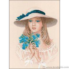 0 point de croix jeune fille romantique avec myosotis - cross stitch romantic young girl with Forget-me-not   aïda 5.5 39x52