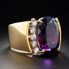13.50 Carat Amethyst and Diamond Ring