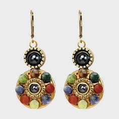 Michal Golan Double Round Gemstone Earrings