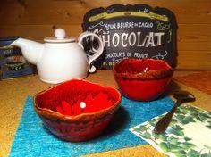 Ensemble de 2 bols céramique rouge et son coulis de cognac : Cuisine et service de table par tiboudflam