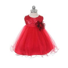 Red Glitter Sheen Baby Dress