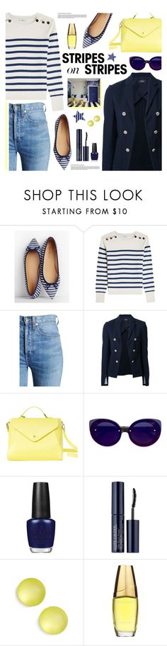 """Stripes"" by tamara-p ❤ liked on Polyvore featuring Talbots, Closed, RE/DONE, Theory, Paperthinks, RetroSuperFuture, OPI, Estée Lauder, Alexis Bittar and stripesonstripes"
