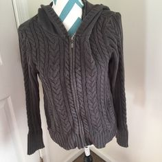 Aeropostale Sweater Pretty charcoal gray zip up sweater. Runs loose for a super comfy fit. EUC. Made with cotton and acrylic material. Aeropostale Sweaters