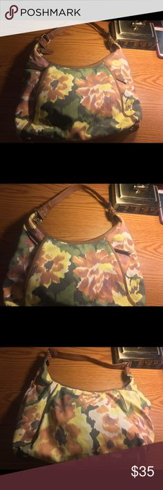 Tiganello Floral Shoulder Bag IN great condition. Very spacious. Two zippered compartments on the front. Lush blue silk lining. Bags Shoulder Bags