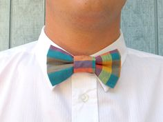 Color Plaids  Clip on Bow Tie for Men or Women by Fr33na on Etsy, $19.50