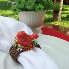 Porta Guardanapo Passarinho em Cerâmica  Coral