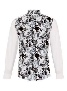 White And Black Long Sleeve Smart Shirt. All black back. TOPMAN ...