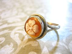 Vintage 800 Silver Carved Flower Cameo Ring by charmingellie, $38.00