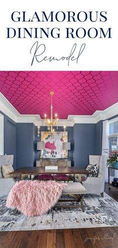homedecor wallpaper Our new dining room is modern and glam! With a gold chandelier, pink wallpaper on the ceiling, fun printed pillows, and a variety of modern furniture, Im so happy with how it turned out! By Jennifer Allwood Dining Room Colors, Dining Room Design, Dining Rooms, Wallpaper Ceiling, Pink Wallpaper, Dining Room Wallpaper, Small House Decorating, Decorating Tips, Ceiling Decor