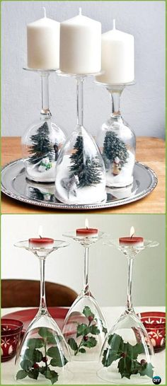 DIY Wine Glass Holiday Dioramas Candle Holders Instruction - Holiday Candle DIY Craft Ideas & Tutorials