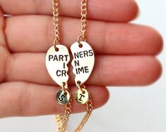 PARTNERS IN CRIME bracelet initials friendship by birdshome