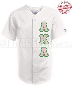 Alpha Kappa Alpha Greek Letter Cloth Baseball Jersey, White. $62.99