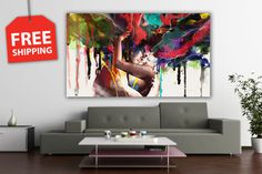 """Canvas painting """"Passion"""".  Digital printing on canvas for order. Abstract flover poster set. Large wall hanging for home"""
