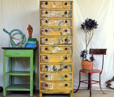 Homemade Upcycled Dresser / Chest of Drawers: Tall, Mustard Yellow, Rustic Vintage Wooden & Metal Cabinet by MerlesVintage on Etsy