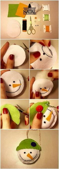 Diy Christmas Sewing Simple Ideas - Gifts and Costume Ideas for 2020 , Christmas Celebration Felt Christmas Decorations, Felt Christmas Ornaments, Christmas Projects, Kids Christmas, Christmas Snowman, Felt Snowman, Snowmen, Christmas Sewing, Diy Weihnachten