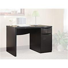 black desk. Simple lines, practical storage