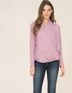 be2c59aa115 Wrap style breastfeeding sweater featuring long sleeve, hi-low top, and a  wrap