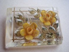 Vintage Art Deco Clear Lucite Hand Carved Brooch Pin Yellow Roses | eBay