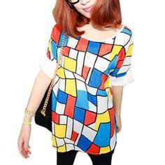 Allegra K Woman Short Sleeve Geometric Prints Shirt Blue Orange White Yellow XS Allegra K. $7.05