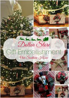 Dollar Tree Gift Embelishment with Our Southern Home #Christmas