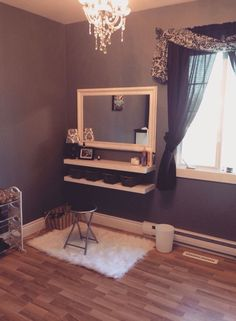 I love this DIY vanity. All she did was mount a mirror and two shells onto a wall the make this adorable vanity. I fell so inspired to do that to my room because it doesn't cost as much as Otha tumblr vanities