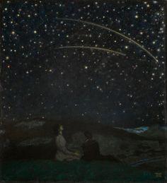 Franz von Stuck (German, 1863-1928), Sternschnuppen [Shooting Stars] (Franz and Mary Stuck), 1912. Oil on panel, 65 x 58.5 cm.