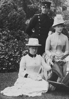 Close up of a family portrait take in June 1887. Grand Duchess Elizabeth Feodorovna her sister Princess Irene of Hesse and her brother Princ...