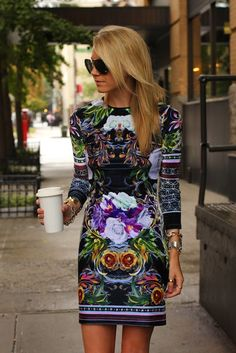 Here is another way to wear the neoprene trend; making it practical is in a printed baroque mini dress!