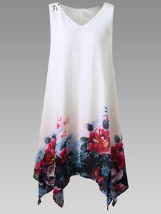 $11.77  Plus Size Floral Handkerchief Dress in White | Sammydress.com