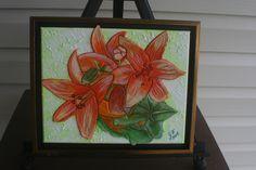 Orange Lillie FRAMED LEATHER COLLAGE, Art,  Wall Art, Original Signed Art, Wall Decor, 3 D Art, Painting, Collage, Wall Art, Home Decor Art, by LindasLeatherStore on Etsy