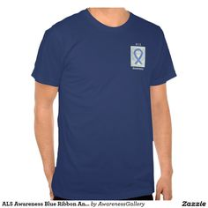 Amyotrophic lateral sclerosis (ALS) also known as Lou Gehrig's Disease Awareness Blue and White Striped Ribbon Angel Custom Tee