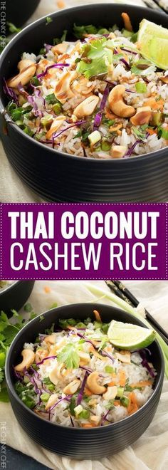 Thai Coconut Cashew Rice | This unique rice side dish is packed with Thai flavors and is a mouthwatering side dish to accompany just about any protein you'd like! | http://thechunkychef.com