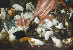 Carl Kahler, My Wife's Lovers, 1881, oil on Canvas. The largest and most expensive painting of cats ever created. It was originally commissioned by Kate Birdsall Johnson, the wife of a millionaire, and depicts 42 of her 350 cats. It was sold at auction at Sotheby's in 2015 for a record-breaking $862,000. More info at lnks | https://news.artnet.com/market/cat-painting-sothebys-carl-kahler-355508 | http://www.sothebys.com/en/auctions/ecatalogue/2015/19th-century-european-art-n09417/lot.40.html