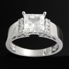Sterling Silver 2.00ct Princess Cut VVS1 Diamond Engagement Ring #Gemdepot #EngagementRing