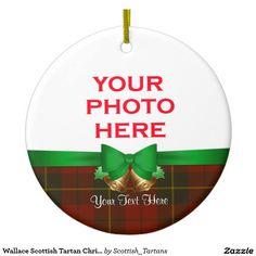 Wallace Scottish Tartan Christmas Photo Double-Sided Ceramic Round Christmas Ornament
