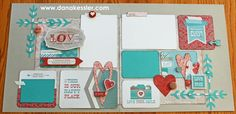 #CTMH Heartstrings Two Page Scrapbook layout ~ Valentines Love