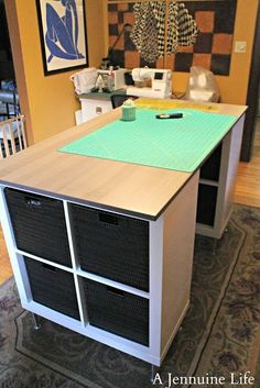 DIY Counter Height Craft Table Perfect craft table - I love to stand and this would be perfect! You could use those closet maid cubes found at Target. A Jennuine Life: DIY Counter Height Craft Table Craft Tables With Storage, Craft Room Tables, Craft Desk, Craft Room Storage, Diy Table, Diy Desk, Table Storage, Craft Table Ikea, Craft Rooms