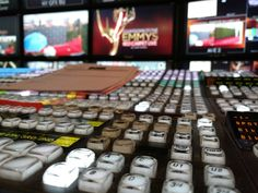 Inside NEP's Red/Black mobile unit for Countdown to the Emmys, Red Carpet Live - Los Angeles, September 2016 - Richard Ehrenberg, Technical Director. The Emmys, Tv Remotes, Music Instruments, The Unit, Red Black, Red Carpet, September, Live, Musical Instruments