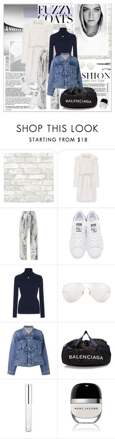 """#fuzzycoats"" by stylemeup-649 ❤ liked on Polyvore featuring Shrimps, Proenza Schouler, adidas Originals, Courrèges, Linda Farrow, Balenciaga and Marc Jacobs"