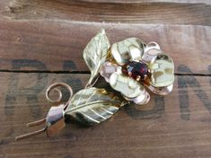 Vintage 1940s Flower Brooch Pin Yellow And Rose Goldtone by Sfuso, $15.00 #vintagejewels #etsy #Flower