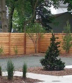 custom horizontal cedar wood fence