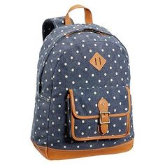 Heritage Washed Navy Dot Canvas Backpack #pbteen, I think we found a winner!