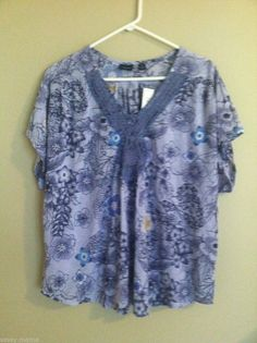 Dillards Westbound Woman Blue Floral V Neck Top New with Tags SZ 2X #WestboundWoman #Blouse #Casual