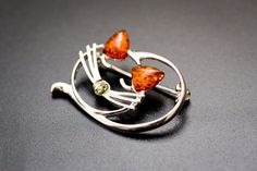 Amber Cat Brooch, Sterling Silver beautiful brooch, jewelry, brooch, 925, gift, women, resin, animal brooch, cat brooch, cat lover, cats,