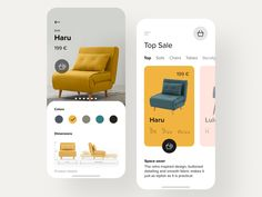 E-commerce app for furniture store designed by Lay for Hiwow. Connect with them on Dribbble; Web Design, Best Ui Design, App Ui Design, Mobile App Design, Store Design, Design Trends, Mobile App Ui, Mobile Web, App Design Inspiration